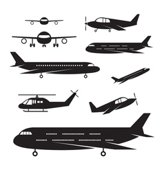 Plane light jet objects silhouette set vector