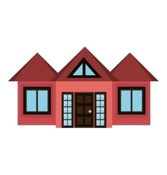 red house and white window graphic vector image