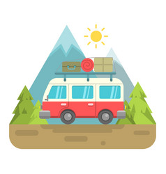 Retro van with mountain background vector