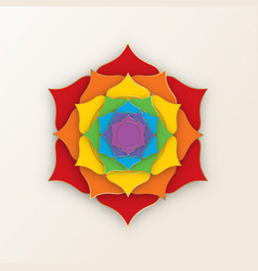 Sacred lotus with seven colors chakras vector
