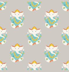 seamless pattern with ganesha elephants symbol of vector image