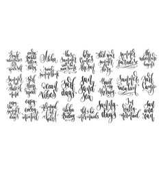 set 25 hand lettering inscriptions text to vector image