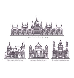 set line isolated hungary cultural monuments vector image
