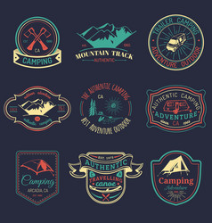 Set of vintage camping logos tourism vector