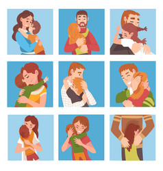 Set people family characters are hugging vector