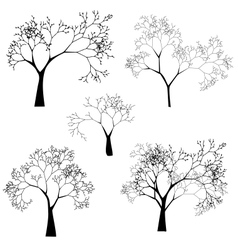 set tree silhouettes vector image