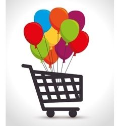 Shopping cart colored balloons bunch vector