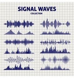 Signal waves sketch icons vector image