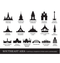 Southeast asia cities landmarks silhouette vector