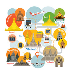 Southeast asia travel infographic vector