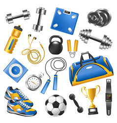 Sport equipment for training set and gold cup vector
