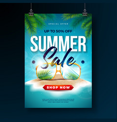 summer sale poster design template with exotic vector image