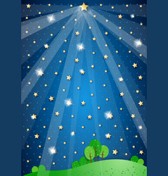 Surreal landscape with big star and lights vector