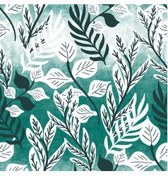 Teal green textured tropical leaf seamless pattern vector