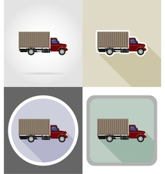 truck flat icons 02 vector image