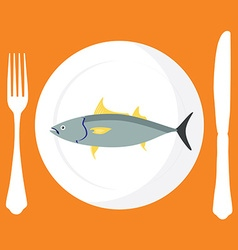 Tuna fish on plate vector image