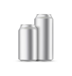 Two metallic cans mockup front view vector