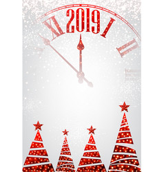 White 2019 new year background with clock and vector