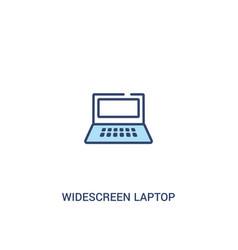 Widescreen laptop concept 2 colored icon simple vector