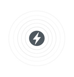 Wireless battery charging icon with lightning vector