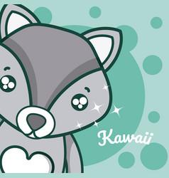wolf cute kawaii cartoon vector image