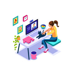 Working character girl sitting at home vector
