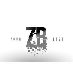 Zb z b pixel letter logo with digital shattered vector