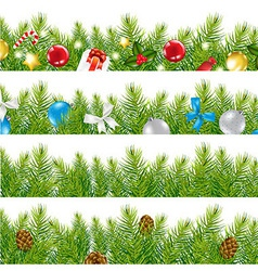 Border With Christmas Tree Set vector image