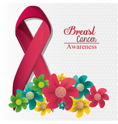 breast cancer awareness flowers and ribbon vector image