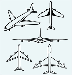 Collection of different airplane vector image vector image