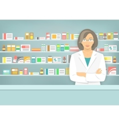 Flat style woman pharmacist at pharmacy opposite vector image
