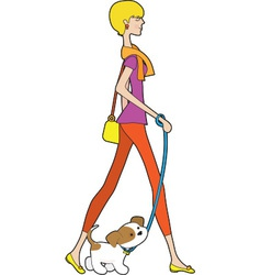 Lady Walking Puppy vector image vector image