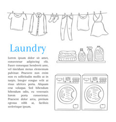 laundry room with washing machine detergent vector image vector image