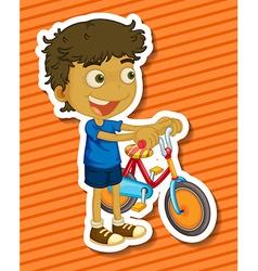 Little boy riding a bike vector image
