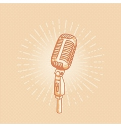 Retro golden microphone vector image