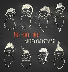 Set of chalk Santa hats and beards vector image
