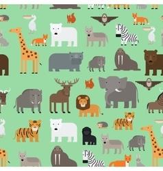 Zoo animals flat style seamless pattern vector image