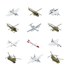military air force isometric icon set vector image
