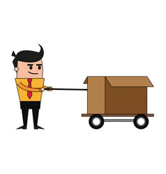 Color image cartoon business man pulling a box vector