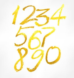 gold numbers set vector image vector image