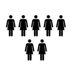 People icon - group of women team pictogram symbol vector