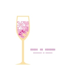 pink abstract triangles wine glass silhouette vector image