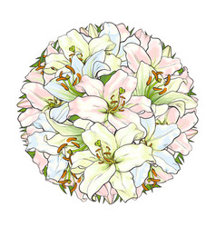 round decoration element of white lily flowers vector image