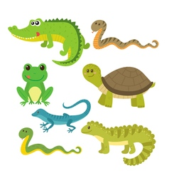 Set of creeping things wild animals vector