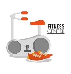 Spinning machine shoes and fitness design vector