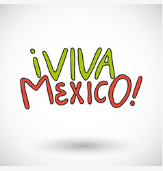 viva mexico icon with round shadow vector image