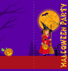 background for greeting with wich in red castle vector image