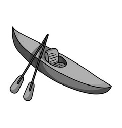 green kayak for downhill on a mountain river vector image