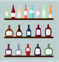 set of alcohol drinks on the shelves vector image vector image