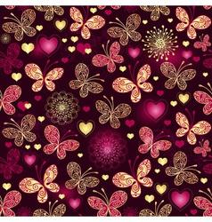 Valentine seamless dark purple pattern vector image vector image